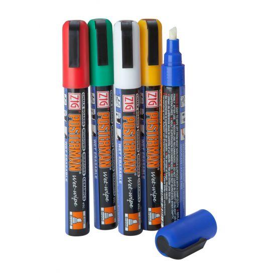 Beaumont Liquid Chalk – 6mm Chisel Tip Mixed Colours – Case QTY 5 BEA 3565