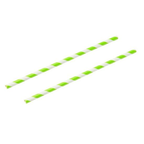 Green & White Stripe 8 Inch Paper Straws 6mm Bore - Pack Of 100 BP3016