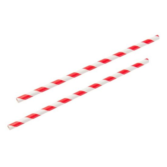 Red & White Stripe 8 Inch Paper Straws 6mm Bore - Pack Of 100 BP3017B