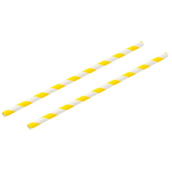 Yellow & White Stripe 8 Inch Paper Straws 6mm Bore - Pack Of 100 BP3018