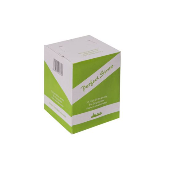 Biodegradable 5.5 Inch White Bendy Straw 6mm Bore - Box Of 250 BP3043