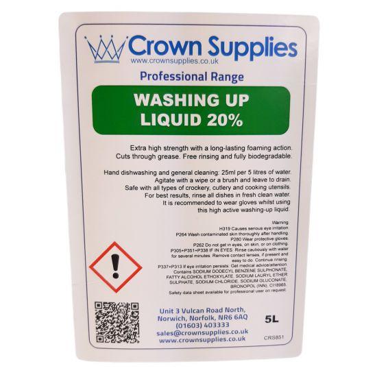 Professional Range Washing Up Liquid 20 5 Litre Pack of 1 CAT2006