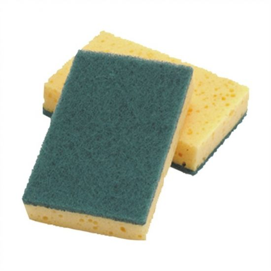 Large Green & Yellow Sponge Scourers - Pack Of 10 CAT3004