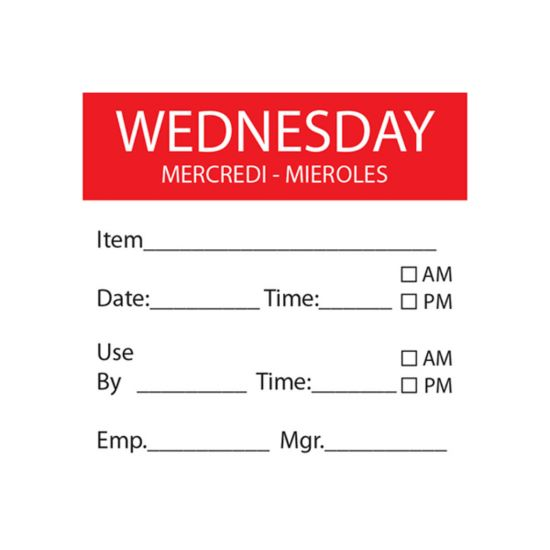 Wednesday Removable Day Of The Week Label 50 X 50mm - Roll Of 500 FL1032