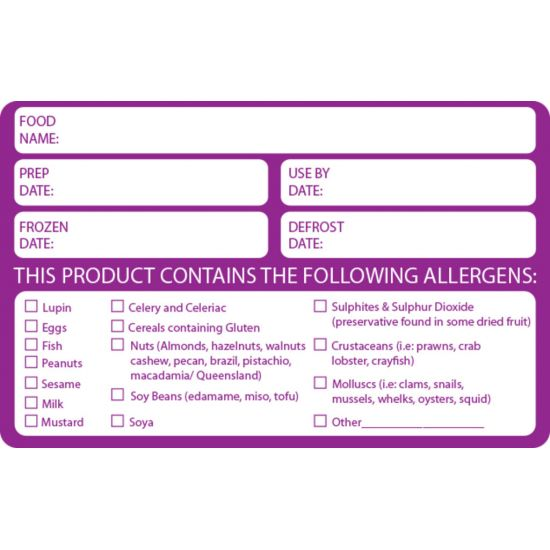 Allergen Contents Label - Date & Prep Info 60 X 95mm - Roll Of 500 FL1050