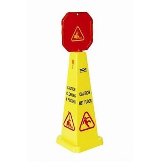 Professional High Visibility Dual Message Wet Floor / Cleaning In Progress Cone FLO5016