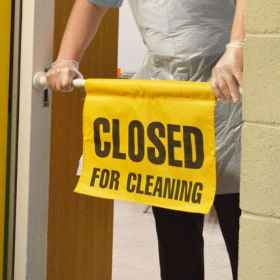 Closed For Cleaning - Hanging Door Fitting Sign FLO5018