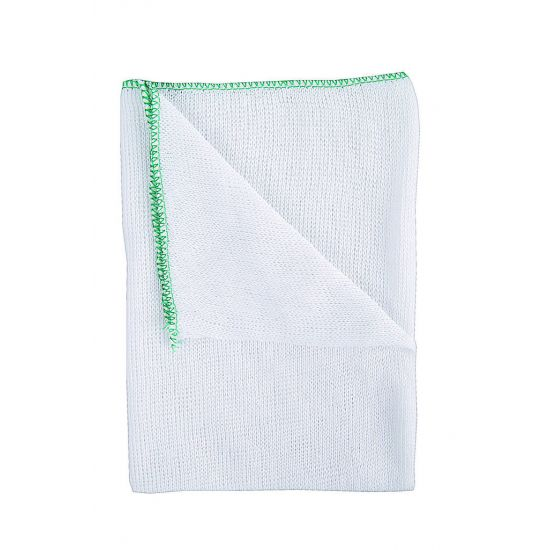 Heavy Duty White Dishcloth - Green Colour Coded Border - Pack Of 10 GW2011