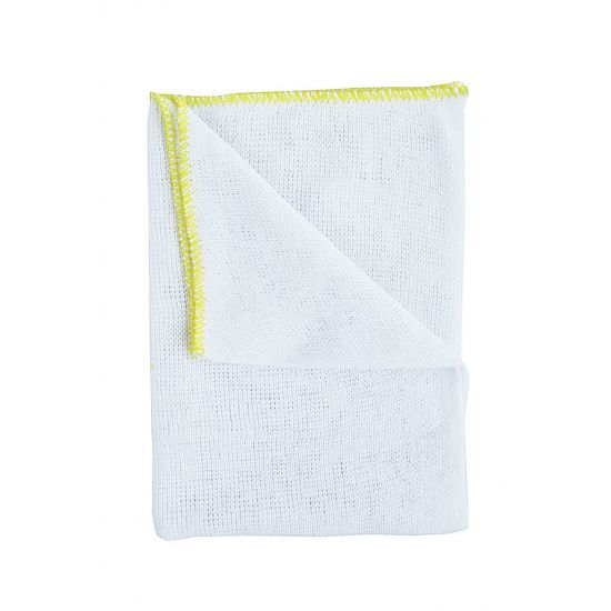 Heavy Duty White Dishcloth - Yellow Colour Coded Border - Pack Of 10 GW2013