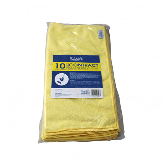Contract Yellow Microfibre General Purpose Cloth - Pack Of 10 GW4013