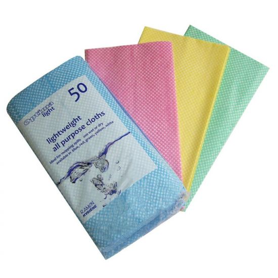 Green All Purpose  J Style  Non-Woven Lightweight Cloths - Pack Of 50 GW5002