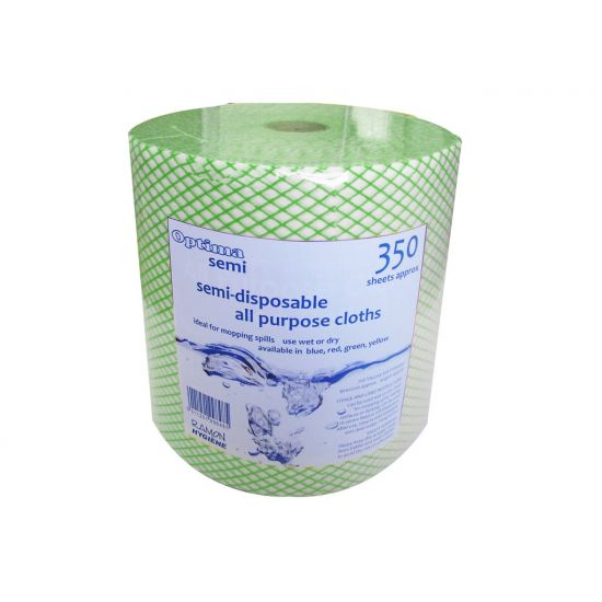 Green All Purpose Non-Woven Lightweight Cloths On A Roll - 350 Sheet GW5021