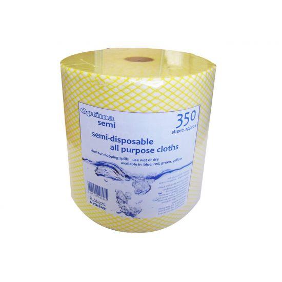 Yellow All Purpose Non-Woven Lightweight Cloths On A Roll - 350 Sheet GW5023