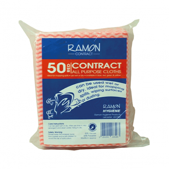 Contract Red All Purpose Non-Woven Lightweight Cloths - Pack Of 50 GW5030