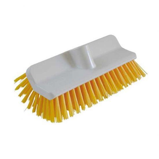 Yellow 24cm Hi-Low Deck Scrub Brush Head Heavy Duty JE1034