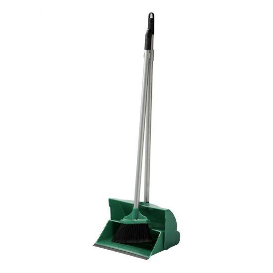 Green Long Handled Lobby Dust Pan & Brush Set JE1042
