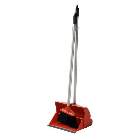 Red Long Handled Lobby Dust Pan & Brush Set JE1043