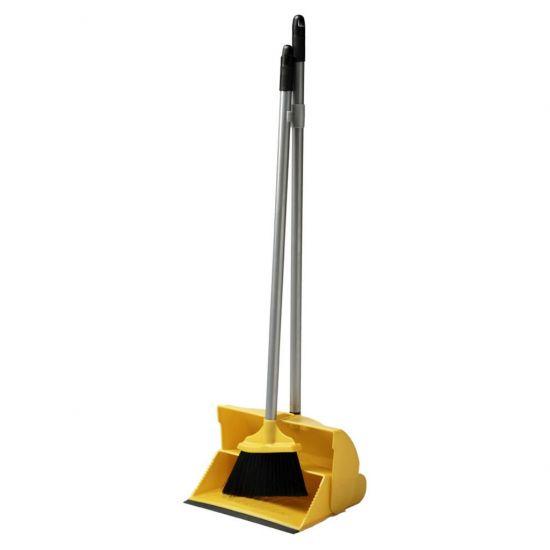 Yellow Long Handled Lobby Dust Pan & Brush Set JE1044