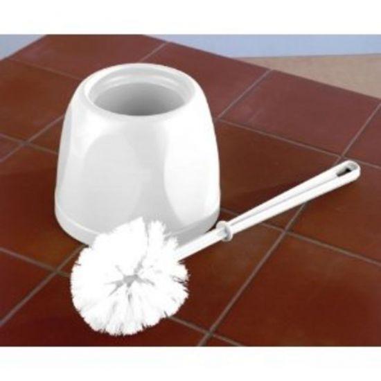 White Round Enclosed Toilet Brush & Holder Set JE7006
