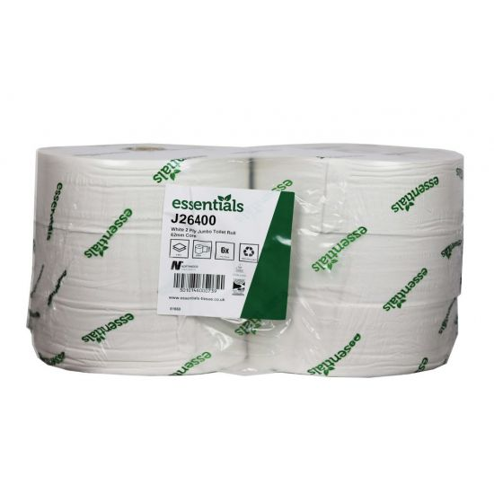 Maxi Jumbo Toilet Roll 400m 2ply White - Pack Of 6 PAP1011