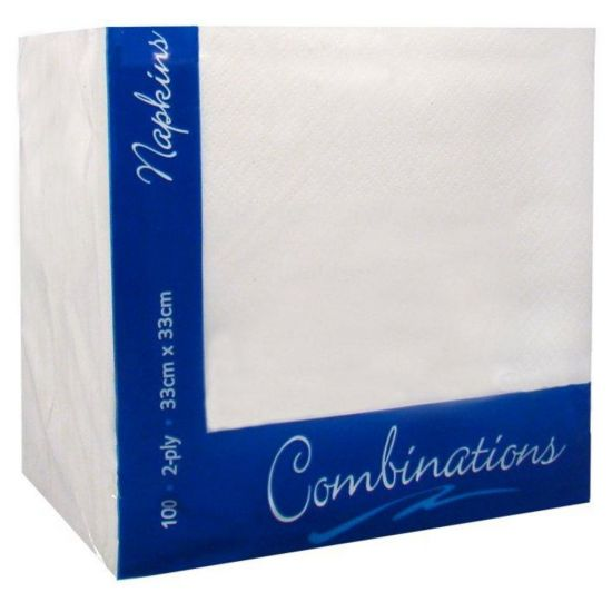 White 33cm 2ply Napkins - Pack Of 100 PAP4102