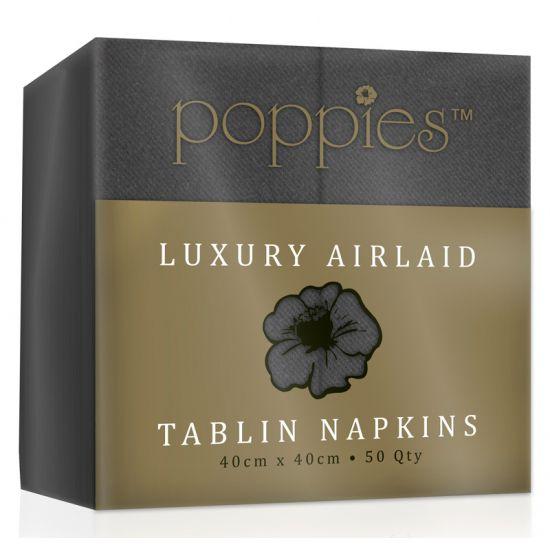 Luxury Airlaid Tablin 8-Fold Slate Grey Napkin 40cm x 40cm - Pack 50