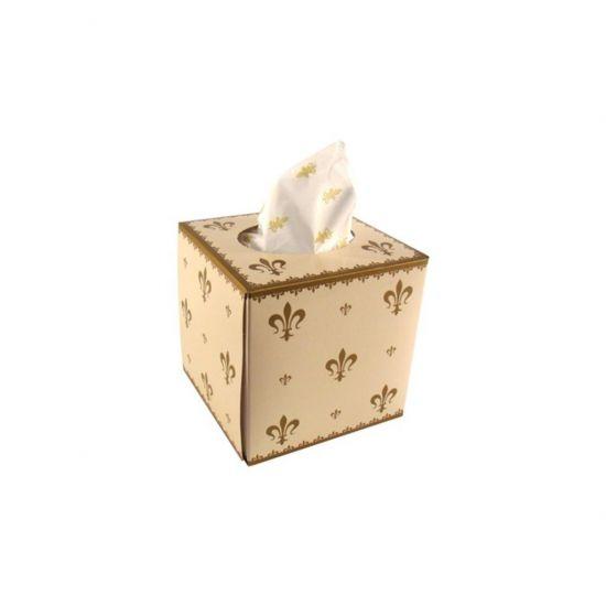 Premium Fleur De Lys Decorated Cube Tissues 3ply - 24 Packs Of 80 PAP6011