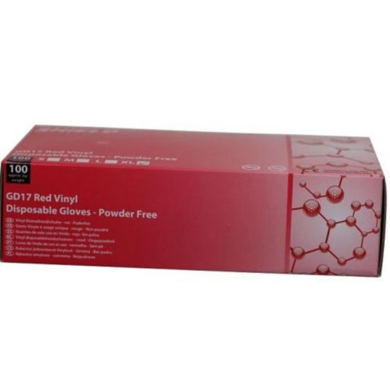 Red Vinyl Powder Free Gloves - Small - Box Of 100 PP1039