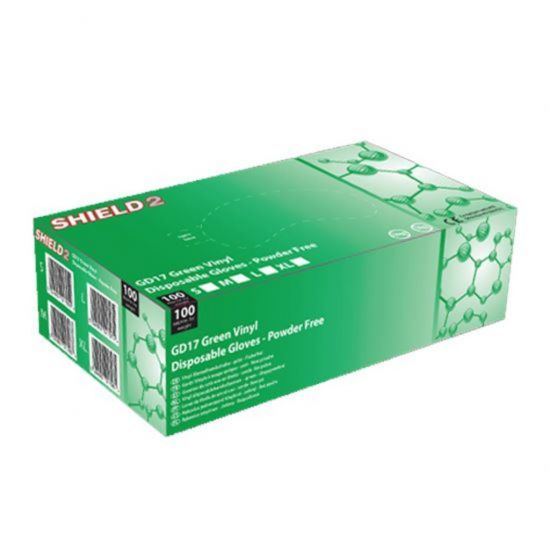 Green Vinyl Powder Free Gloves - Large - Box Of 100 PP1049