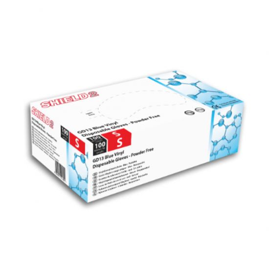 Blue Vinyl Powder Free Gloves - Small - Box Of 100 PP1052