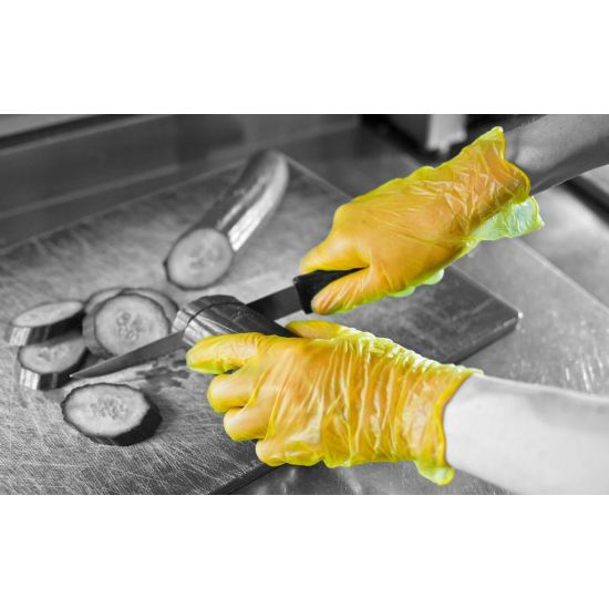 Yellow Vinyl Powder Free Gloves - Large - Box Of 100 PP1058