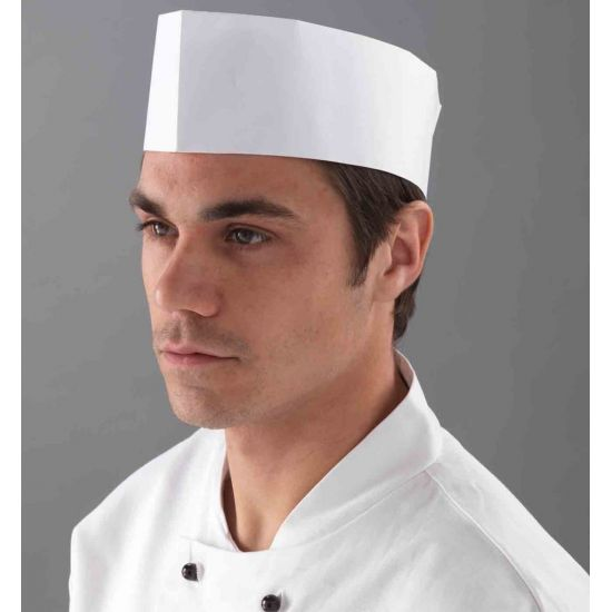 White Disposable Paper Forage Hats With Perforated Crown - Pack Of 100 PP2039