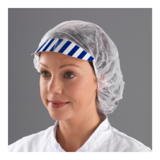 Non-Woven Blue & White Cardboard Peaked Bouffant Caps - Pack Of 100 PP2040