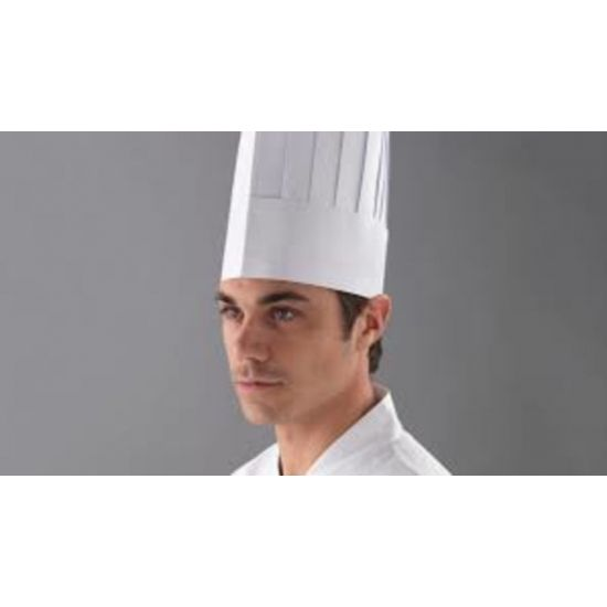 White Disposable Classic Style Chefs Hats 250mm Height - Pack Of 50 PP2043