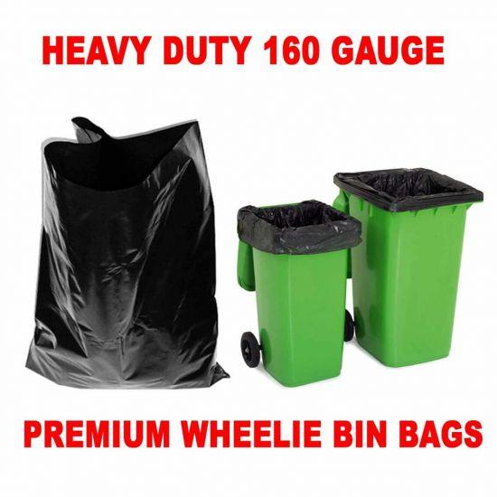 Black Heavy Duty 30x45x54 Inch Wheelie Bin Bags - Case Of 100 WM1010