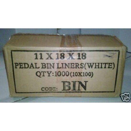 White Economy 11x17x18 Inch Pedal Bin Bags - Box Of 1000 WM1018