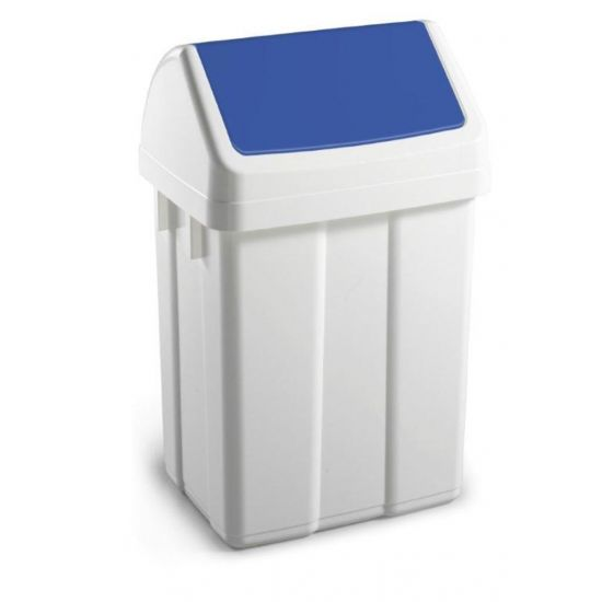 50 Litre White Swing Bin With Blue Colour Coded Lid WM2008