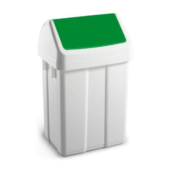 50 Litre White Swing Bin With Green Colour Coded Lid WM2009