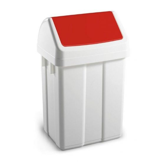50 Litre White Swing Bin With Red Colour Coded Lid WM2010