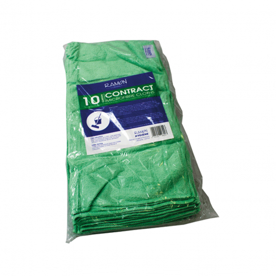 Contract Green Microfibre General Purpose Cloth - Pack Of 10 GW4011