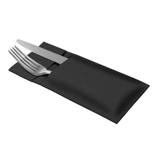 Linstyle Cutlery Bag Napkins 39cm Black Qty 360 IG 477238
