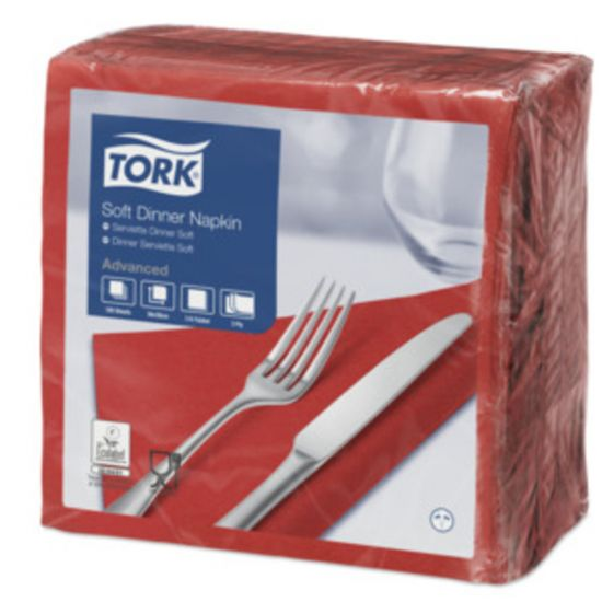 Dinner Napkins 3 Ply 4 Fold 39cm Red Qty 1200 IG 477591