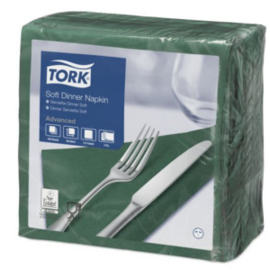 Dinner Napkins 3 Ply 4 Fold 39cm Dark Green Qty 1200 IG 477604