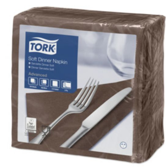 Dinner Napkins 3 Ply 4 Fold 39cm Brown Qty 1200 IG 477774
