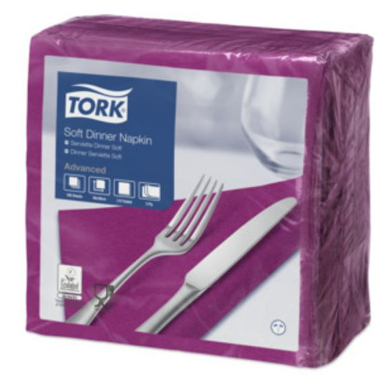 Dinner Napkins 3 Ply 4 Fold 39cm Purple Qty 1200 IG 477775