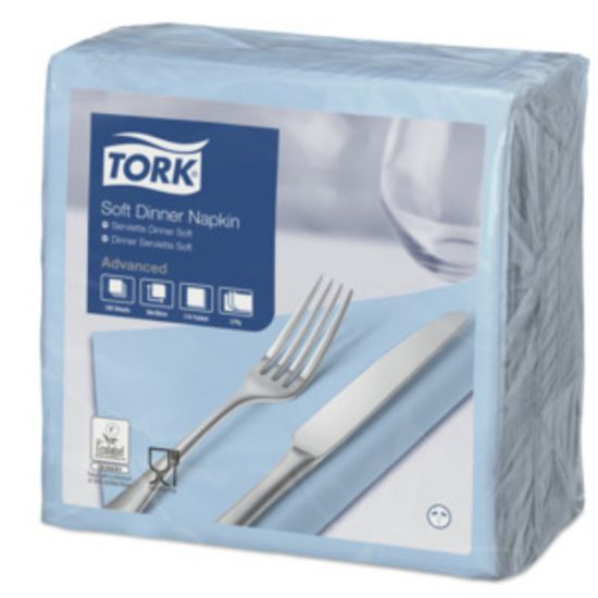 Dinner Napkins 3 Ply 4 Fold 39cm Light Blue Qty 1200 IG 477913