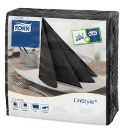 Tork Linstyle Napkins 4 Fold Black 39cm Qty 600 IG 478726