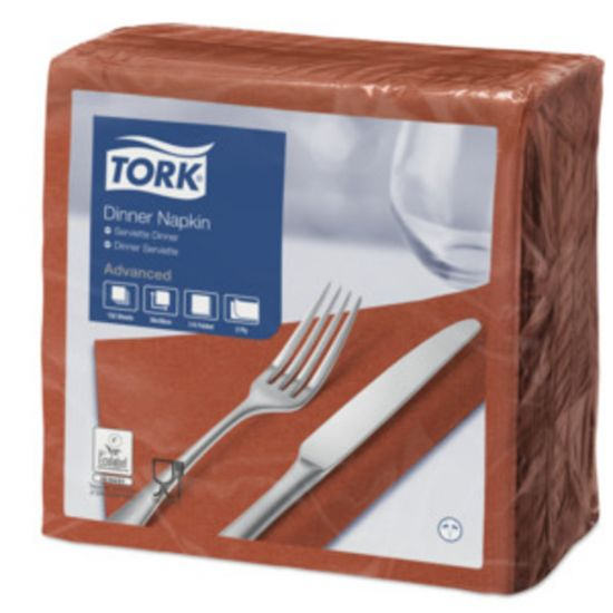 Dinner Napkins 2 Ply 4 Fold 39cm Terracotta Qty 1800 IG 478763