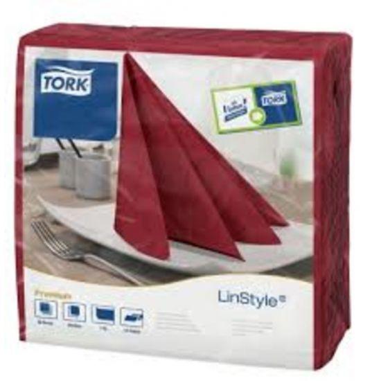 Tork Linstyle Napkins 4 Fold Burgundy 39cm Qty 600 IG 478855
