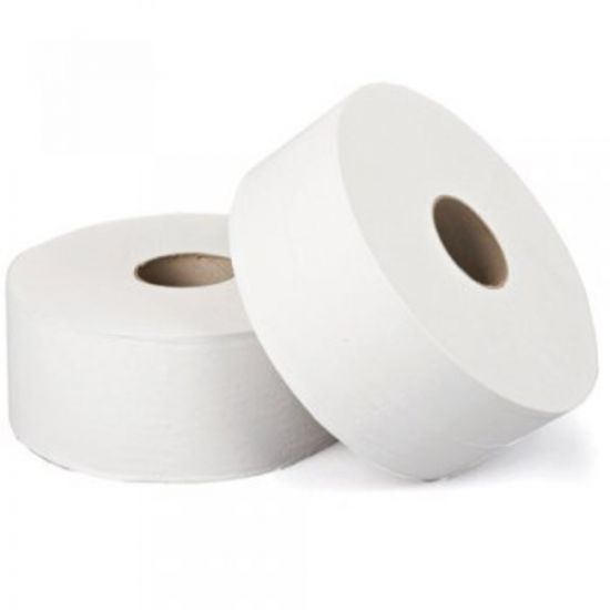 White Jumbo Toilet Roll 2 Ply 325m Qty 6 IG JT9000